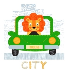 Lion with car t-shirt design vector
