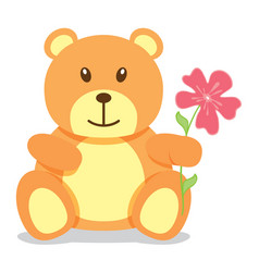Little brown bear holding a flower vector