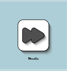 Media player icon gray with a shadow on a blue vector