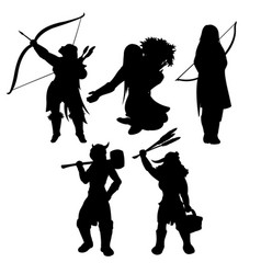 medieval womans black silhouettes vector image