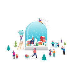 merry christmas winter wonderland scene in a snow vector image