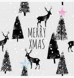 merry xmas hand drawn trendy print vector image