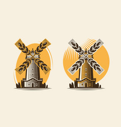 Mill windmill and ear wheat bakery farm vector
