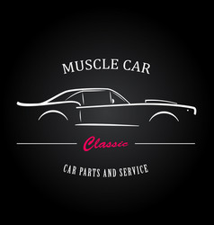 muscle car silhouette american classic sports car vector image
