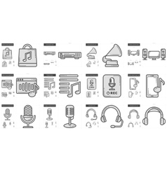 Music line icon set vector image