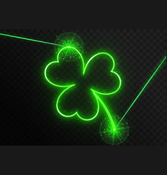 Neon laser with clover vector