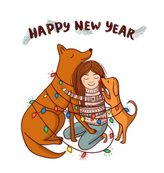 new year card with girl and brown dogs vector image