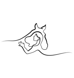 one line drawing horse and woman heads logo vector image