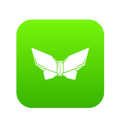 origami butterfly icon green vector image
