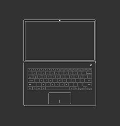 outlined laptop on black vector image