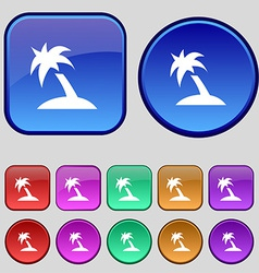 Palm Tree Travel trip icon sign A set of twelve vector image