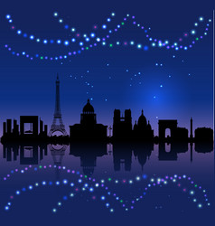 paris silhouete and chritsmas lights vector image