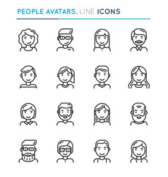 People avatars thin line icon set editable stroke vector