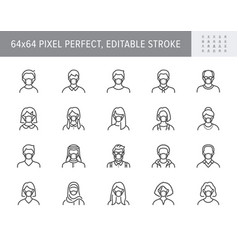 People in mask avatar line icons vector