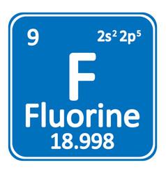 Periodic table element fluorine icon vector