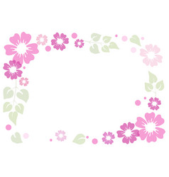 pink and violet flowers green leaves and dots vector image