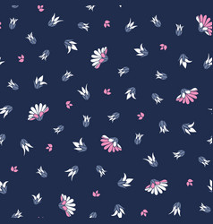 Pink white flowers on blue background seamless vector
