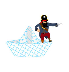 Pirate on paper boat isolated vector