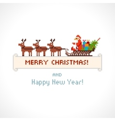 Pixel style Santa Claus in a sleigh vector image