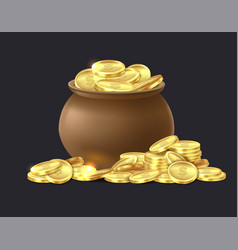 pot gold coins ceramic cauldron full vector image