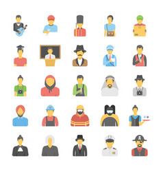 Professions avatar flat icons set vector