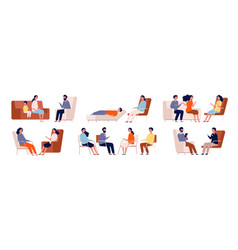 Psychologist group therapy couch talking medical vector