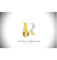 R golden letter design brush paint stroke gold vector
