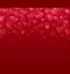 red background with many hearts valentines day vector image