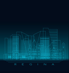 Regina skyline detailed silhouette modern vector
