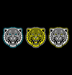 roaring tiger poster vintage tiger head retro vector image