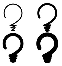 set light bulb in form question mark concept vector image