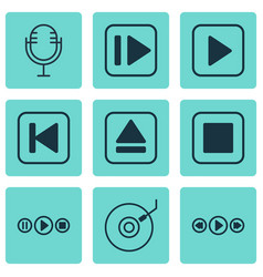 Set of 9 music icons includes music control vector
