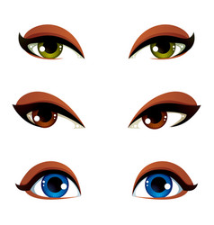 Set of blue brown and green eyes female eyes vector