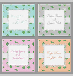 Set of four beautiful cards with a square frame vector