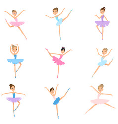 set young girl ballerina colorful textile vector image