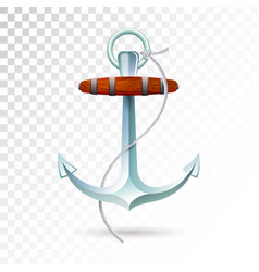 Ships anchor and rope isolated on transparent vector