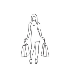 silhouette woman holding shopping bags isolated vector image