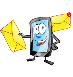 smartphone cartoon character with envelope email vector image