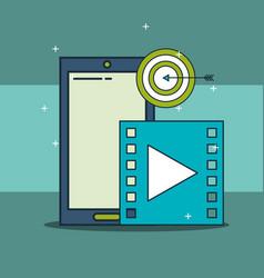 smartphone video target digital marketing vector image