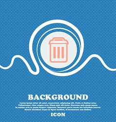 trash sign icon Blue and white abstract background vector image
