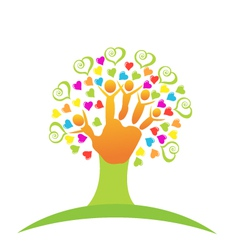 Tree children hands and love logo vector image