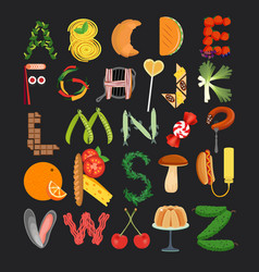 typography kitchen poster food alphabet vector image