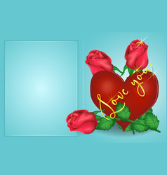 valentines day greeting card heart roses vector image