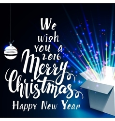 We wish you a merry christmas and open gift vector