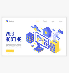 Web hosting landing page template vector