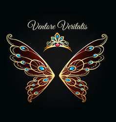 wings and tiara gold logo vector image