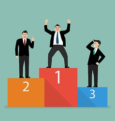 Winners businessman stand on a podium vector