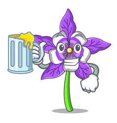 With juice columbine flower mascot cartoon vector