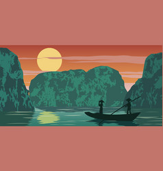 Woman stand in boat to go to come home pass ha vector