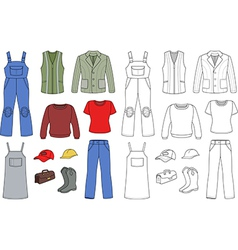 Worker plumber fashion set vector image